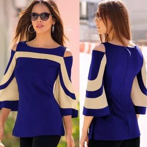 Tops - ❤️❤️❤️❤️ blue with tan trim adorable party top